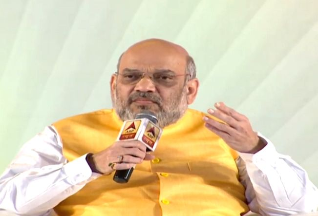 Ranchi: Union Home Minister Amit Shah interacts during Hindustan Purvoday Summit in Ranchi on Sep 18, 2019.