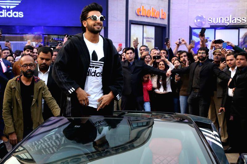 Ranveer Singh inaugurates a store of a sports shoe brand in New Delhi, on Dec 10, 2017. - Ranveer Singh