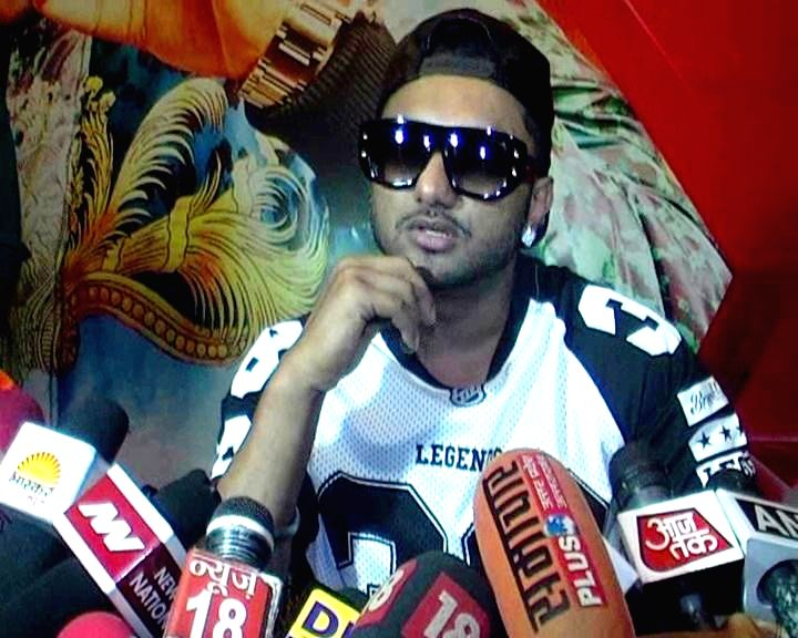 Rapper-singer Honey Singh during a press conference in Varanasi on July 16, 2014.