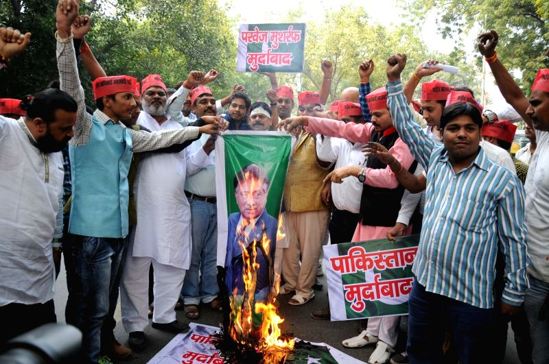 Rashtriya Krantikari Samajwadi Party workers stage a demonstration against Pervez Musharraf  in New Delhi, on Nov 1, 2015.