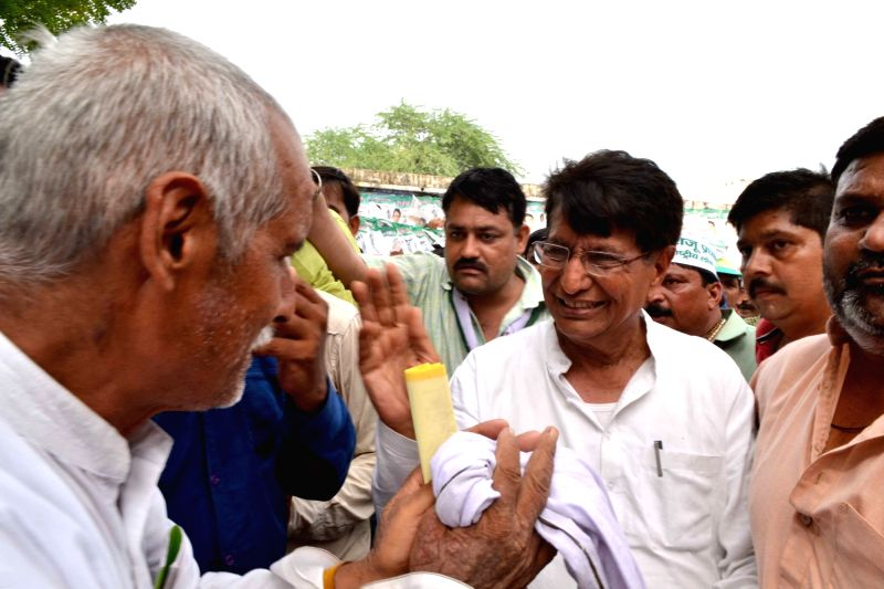 Rashtriya Lok Dal chief Ajit Singh during  an election campaign rally in Agra on July 21, 2016. - Ajit Singh