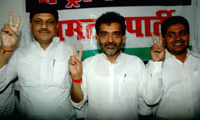 Rashtriya Lok Samata Party chief Upendra Singh Kushwaha during a press conference in Patna on May 17, 2014. - Upendra Singh Kushwaha