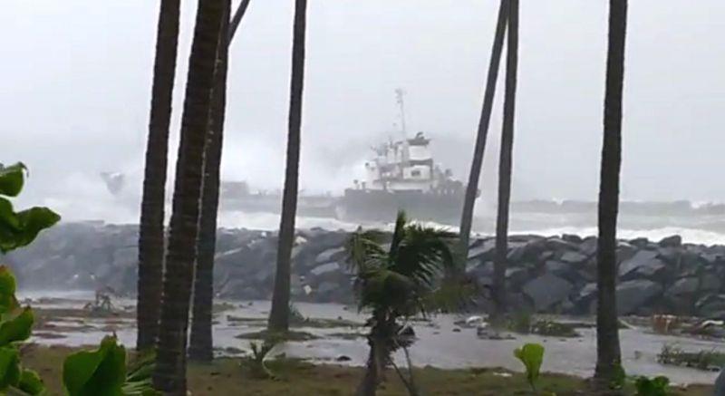 Ratnagiri: The ship which ran aground tossed by waves at Mirya Beach in Ratnagiri after Cyclone Nisarga made a landfall near Harihareshwar in Raigad district of Maharashtra on June 3, 2020. (Photo: IANS)