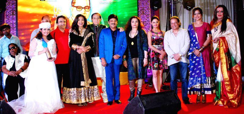 Ravindra jain, Hargun, Rituparna, Sengupta, Harish, Udit, Salma, Agha, Rashmi, Anup jalota, Tanisha, Laxmi during the 4th Bharat Ratna Dr.Baba Saheb Ambedkar Awards 2014 in Mumbai on June 25th, 2014.