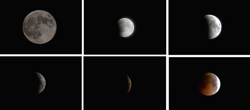 RAWALPINDI, July 28, 2018 - Combo photo taken on July 27, 2018 and July 28, 2018 shows different stages of the moon during a total lunar eclipse in Rawalpindi, Pakistan.