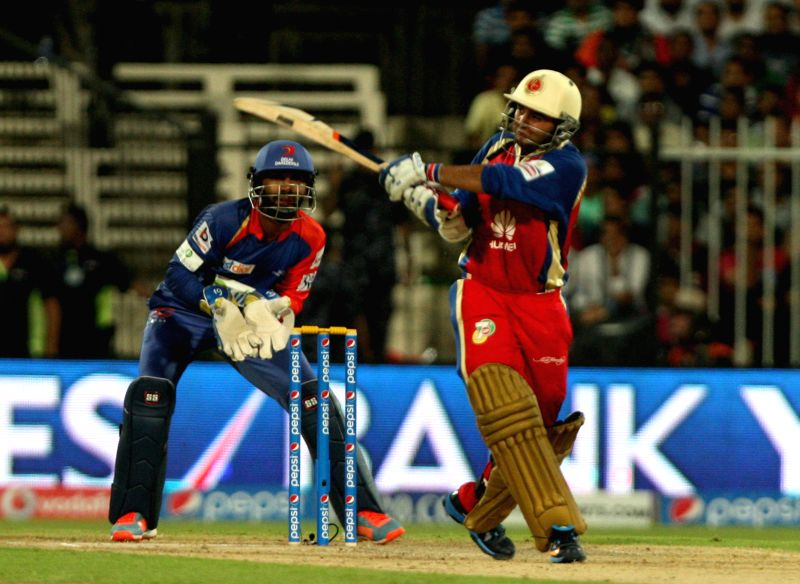 RCB batsman Parthiv Patel in action during the second match of IPL 2014 between Delhi Daredevils and Royal Challengers Bangalore, played at Sharjah Cricket Stadium in Sharjah of United Arab Emirates . - Parthiv Patel