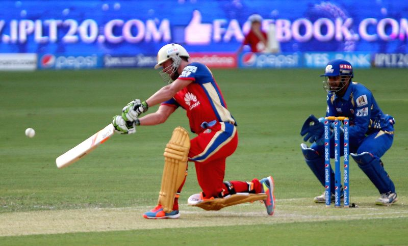 RCB player AB de Villiers in action during the fifth match of IPL 2014 between Royal Challengers Bangalore and Mumbai Indians, played at Dubai International Cricket Stadium in Dubai of United Arab ...