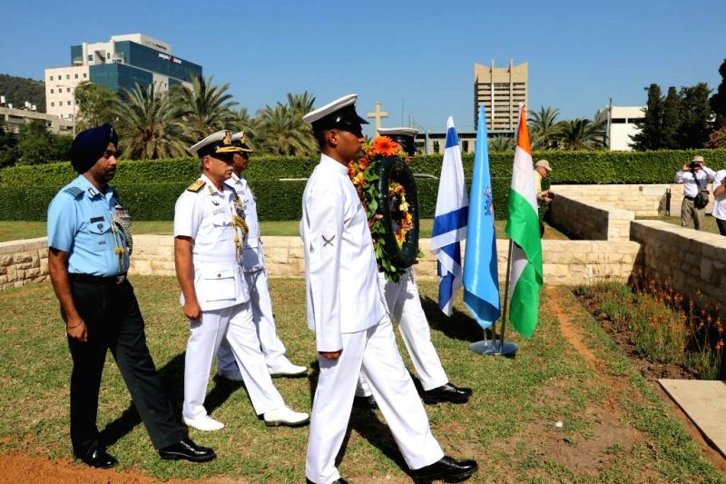 Rear Admiral RB Pandit FOCWF lays a wreath at Indian Military Cemetery at Haifa, Israel