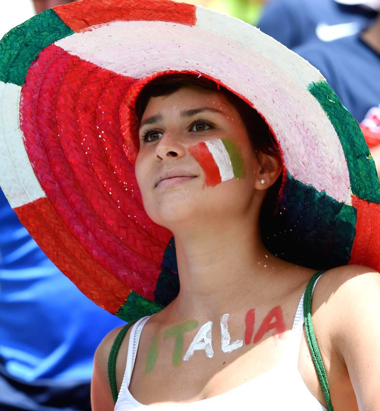 An Italy's fan is seen before a Group D match between Italy and Costa Rica of 2014 FIFA World Cup at the Arena Pernambuco Stadium in Recife, Brazil, on June 20, 2014.