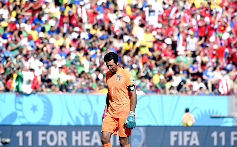 Italy's goalkeeper Gianluigi Buffon reacts during a Group D match between Italy and Costa Rica of 2014 FIFA World Cup at the Arena Pernambuco Stadium in Recife, Brazil,