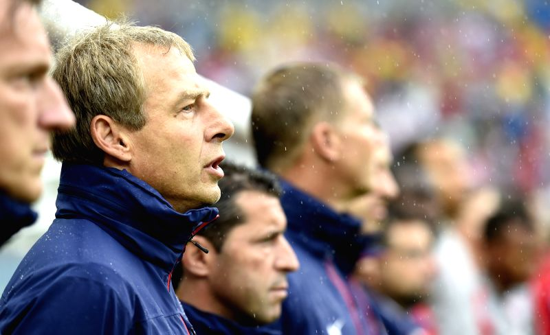 Coach of the U.S. Jurgen Klinsmann is seen before a Group G match between the U.S. and Germany of 2014 FIFA World Cup at the Arena Pernambuco Stadium in Recife, ...