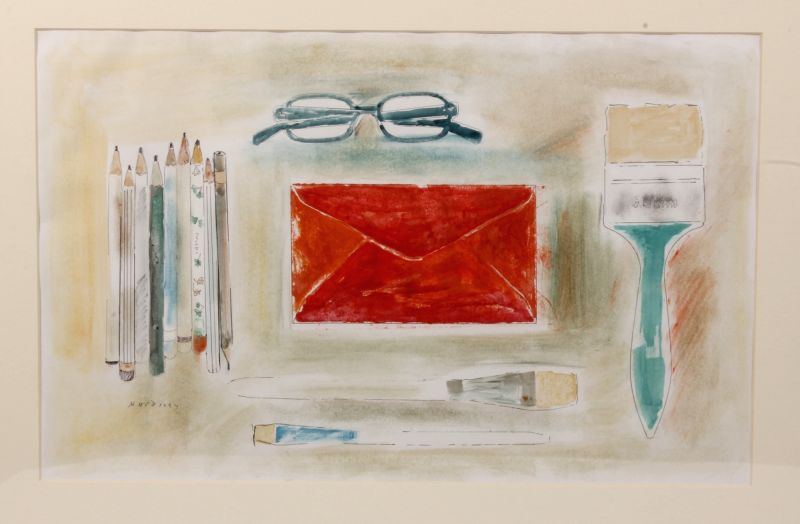 Red Envelope, Enamel and water colour on paper. (Collection & Courtesy of Ajit Gadgil)