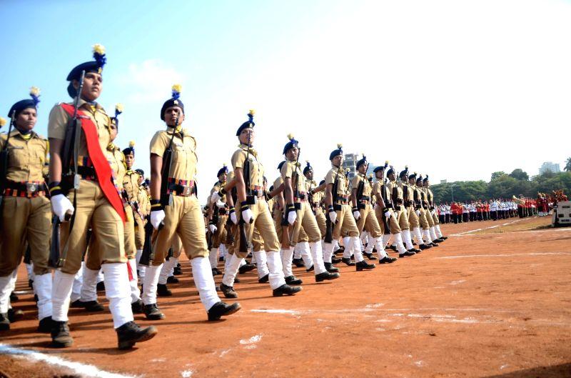 Rehearsals for Maharashtra Day celebrations underway at Shivaji Park in Mumbai on April 29, 2017.