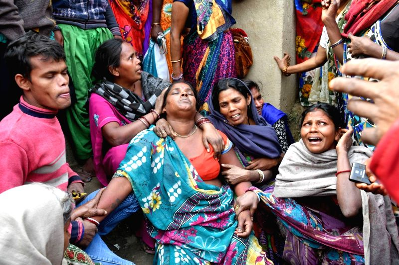 Relatives mourn the death of their family members after five persons were killed and five went missing when a boat capsized near Mastana ghat in the Ganga river at Fatuha of Bihar's Patna ...