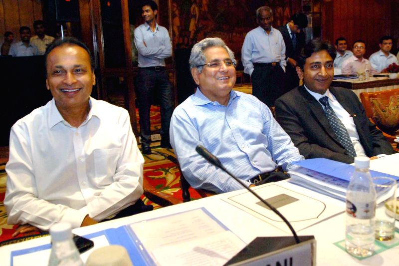 Reliance ADA Group chief Anil Ambani and Director General of Association of Power Producers (APP) Ashok Kumar Khurana during a meeting with Union Minister of State with Independent Charge for Power, . - Ambani and Ashok Kumar Khurana