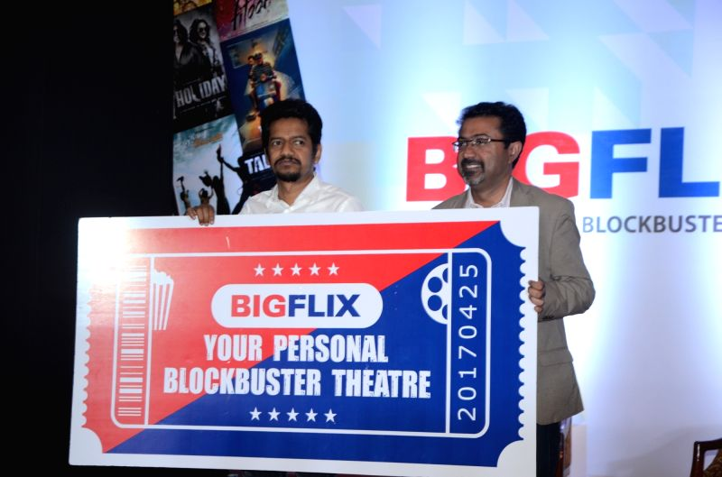 Reliance Entertainment Chief Operating Officer Shibasish Sarkar and CEO Amit Khanduja at the launch of BIGFLIX - in nine languages, in Mumbai on April 25, 2017.