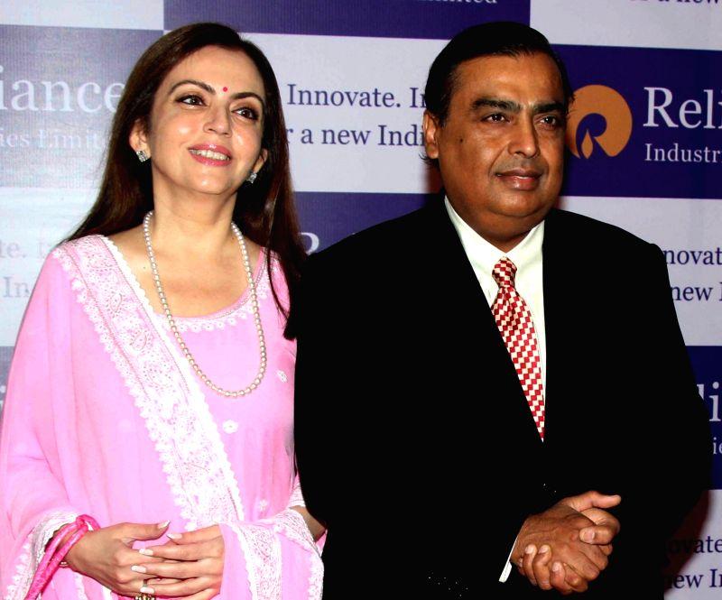 Reliance Industries Ltd (RIL) Chairman Mukesh Ambani with his wife Nita Ambani. (File Photo: IANS) - Mukesh Ambani and Nita Ambani