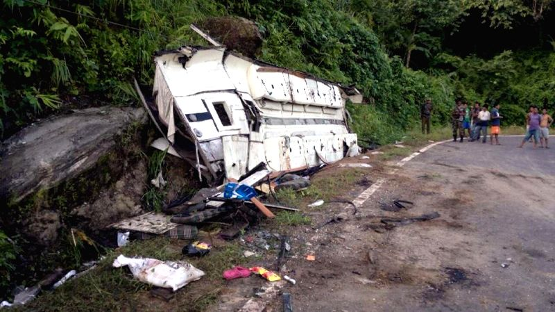 Remains of the ill-fated bus which met with an accident at Dolongre village, about 40 km from Tura on the night of 28th August, 2014. Four people were killed and 20 others injured in the accident.