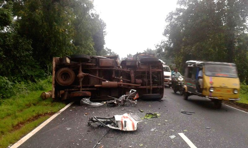 Remains of the vehicles involved in a road accident that happened on Mumbai-Goa highway at Shindewadi near Udhale-Khurd village of Maharashtra on Sept 1, 2014. Reportedly two persons were killed and .