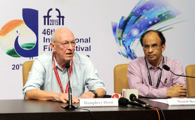 Renowned British Film Editor, Humphrey Dixon addresses a press conference, at the 46th International Film Festival of India (IFFI-2015), in Panaji, Goa on Nov 27, 2015.