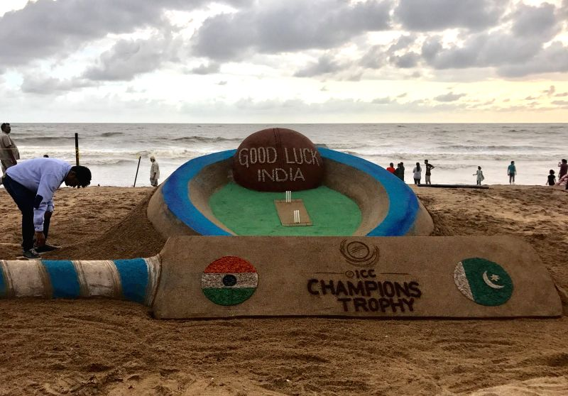 Renowned sand artist Sudarsan Pattnaik wishes Good Luck to Team India that is set to play against Pakistan during a 2017 ICC Champions Trophy match in Birmingham on 4th June; at Puri beach on ... - Sudarsan Pattnaik