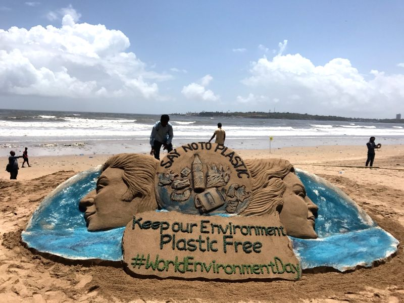 "Renowned sand artist Sudarshan Pattnaik's creation on the eve of World Environment Day urging people to ""Say No to Plastic"" at Puri beach in Odisha on June 4, 2017. - Sudarshan Pattnai"