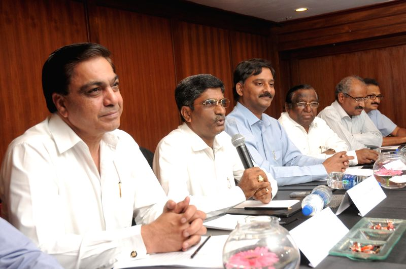 Representatives of cement industry address a press conference in Hyderabad on July 22, 2014.