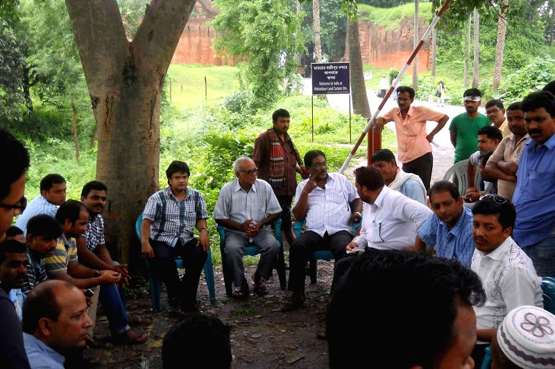 Representatives of Indian and Bangladeshi business organisations during a meeting to resolve problems between them at Mahadipur border in Malda district of West Bengal on July 4, 2014.