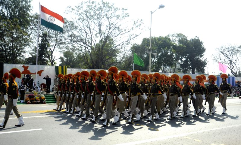 Republic Day Parade underway at Red Road on the Republic Day in Kolkata