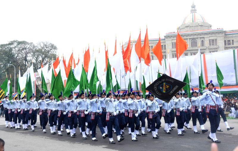 Republic Day parade underway in Lucknow.