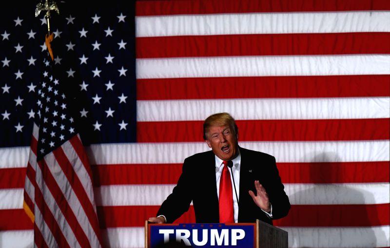 ... Donald Trump speaks at a campaign rally in Cedar Rapids, Iowa