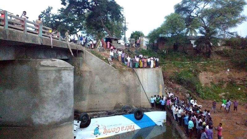 10 killed as bus falls into canal in Telangana