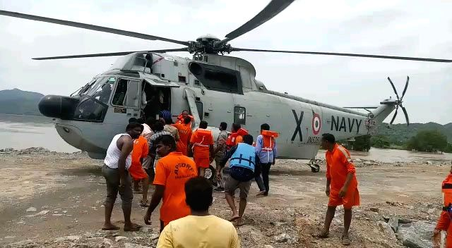 Rescue operations underway after a boat with about 60 tourists capsized in Godavari river in Andhra Pradesh's East Godavari district on Sep 15, 2019.