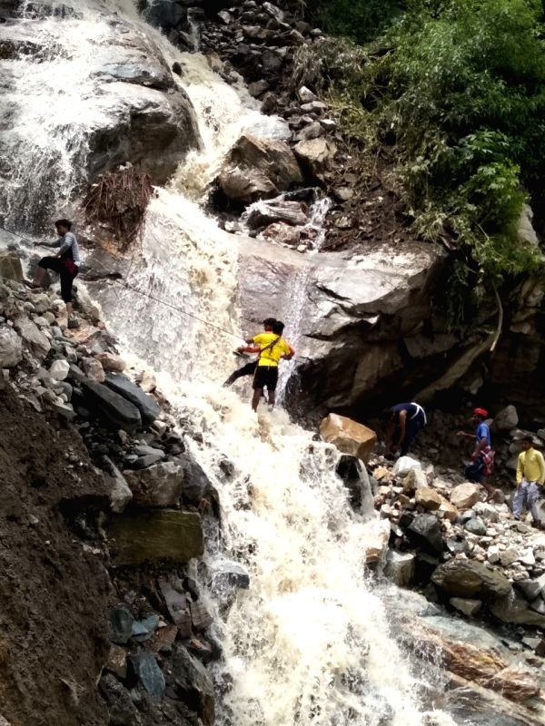 Rescue operations underway after a landslide struck Uttarkashi in Uttarakhand on July 30, 2018.