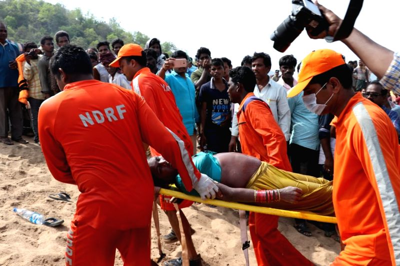Rescue operations underway after a launch capsized in Godavari river in Andhra Pradesh's Devipatnam on May 16, 2018. 22 persons were killed in the accident. The boat, which sailed from ...
