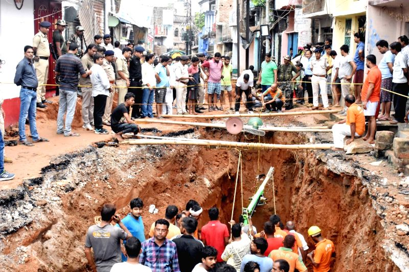 Rescue operations underway after a three-year-old girl reportedly fell into a 110-feet deep borewell, in Bihar's Munger district on Aug 1, 2018.