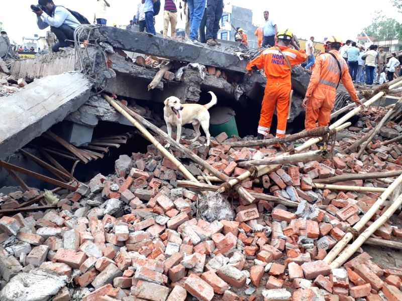 Rescue operations underway at the site where a five-storied building collapsed in Ghaziabad on July 22, 2018.