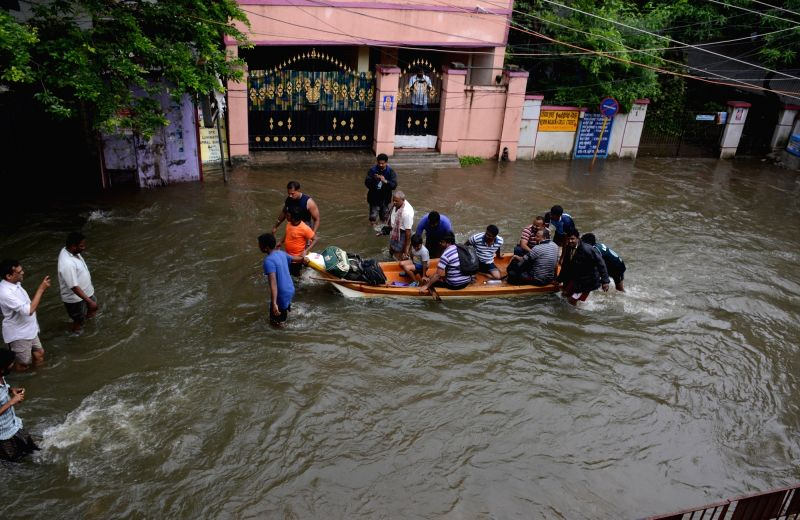 Rescue operations underway in flood affected Chennai on Nov 16, 2015.