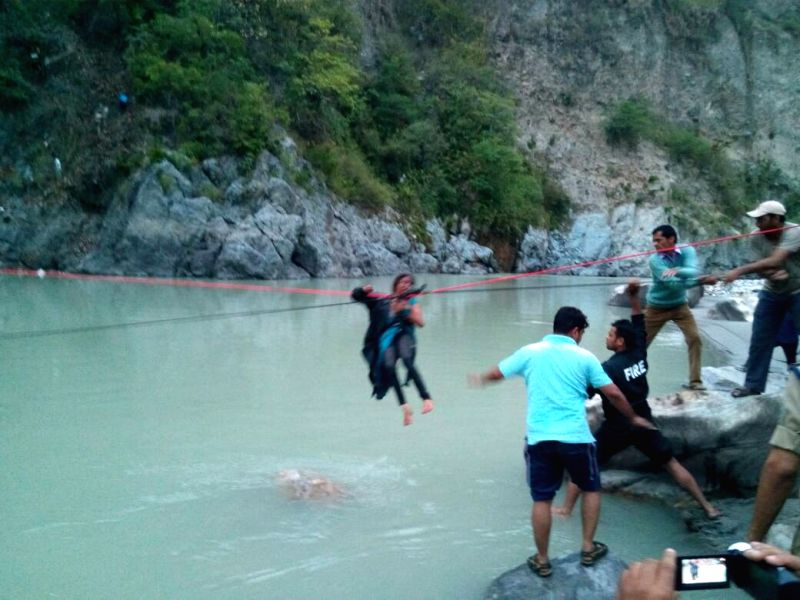 Rescue work going on as a passenger bus plunged into a deep gorge in Uttarakhand on May 23, 2017. At least 24 persons were killed and eight others injured when the bus they were ...