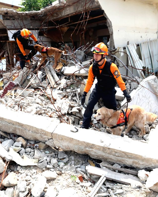 Rescuers using rescue dogs search the wreckage of a residential area that is going through redevelopment in the southeastern port city of Busan on May 17, 2017, as they take part in a drill to ...