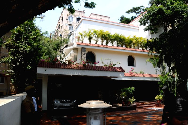 Residence of Karti Chidambaram in Chennai on May 16, 2017. Karti Chidambaram is facing money laundering probe linked to the dubious Aircel-Maxis deal.