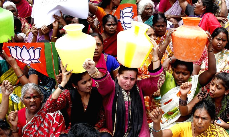 Residents of Sudamanagara protesting for drinking water at Town Hall, in Bangalore on June 16, 2014.
