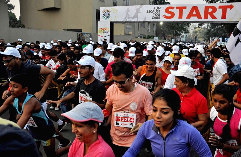 Retired IPS and BJP leader Kiran Bedi during Airtel Run for Education in Kolkata, on Nov 29, 2015. - Kiran Bedi