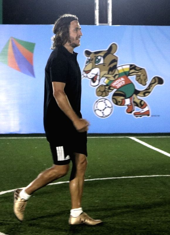 Retired Spanish footballer Carles Puyol during a programme organised to kick off U-17 FIFA World Cup ticketing programme in New Delhi, on May 15, 2017.