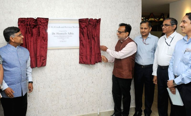 Revenue Secretary Dr. Hasmukh Adhia inaugurates the New GST Council Office, at Connaught Place, in New Delhi on May 2, 2017.
