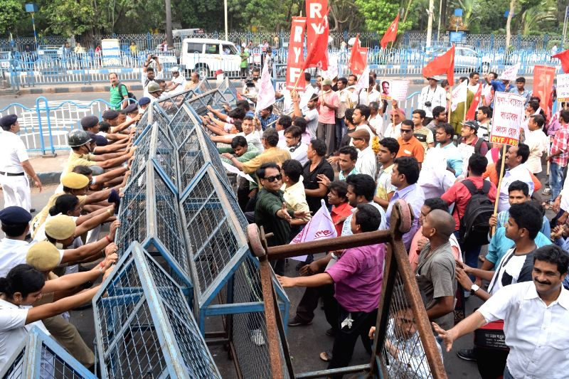 Revolutionary Socialist Party (RSP) youth wing stage a demonstration against West Bengal Government in Kolkata on April 19, 2017.