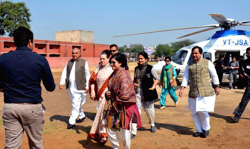 Congress president Sonia Gandhi during her visit to Rewari of Haryana on March 21, 2015.