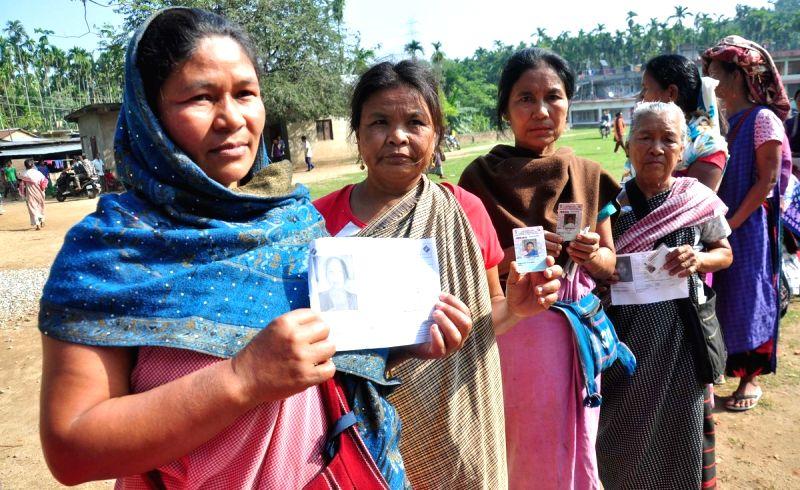 Ri-Bhoi: Tribal women at a polling station to cast vote for Lok Sabha election, in Meghalaya's Ri-Bhoi district, on April 11, 2019. (Photo: IANS/PIB)