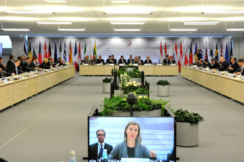 EU High Representative for External Affairs and Security Policy Federica Mogherini speaks during the informal meeting of EU defense ministers at National Library of ...