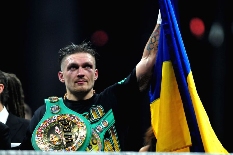 RIGA, Jan. 28, 2018 - WBO (World Boxing Organization) Champion Ukrainian boxer Oleksandr Usyk wears WBC (World Boxing Council) belt after defeating WBC Champion Latvian boxer Mairis Briedis during ...